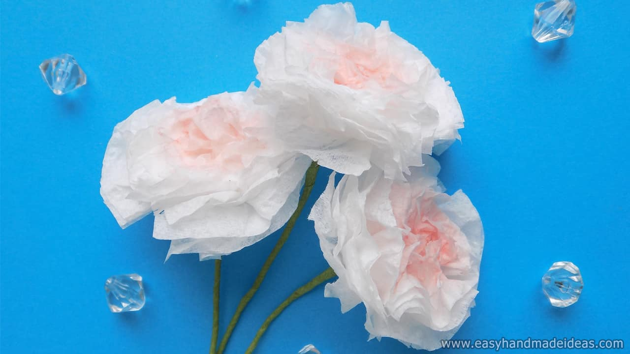 Three Delicate Flowers from Napkins