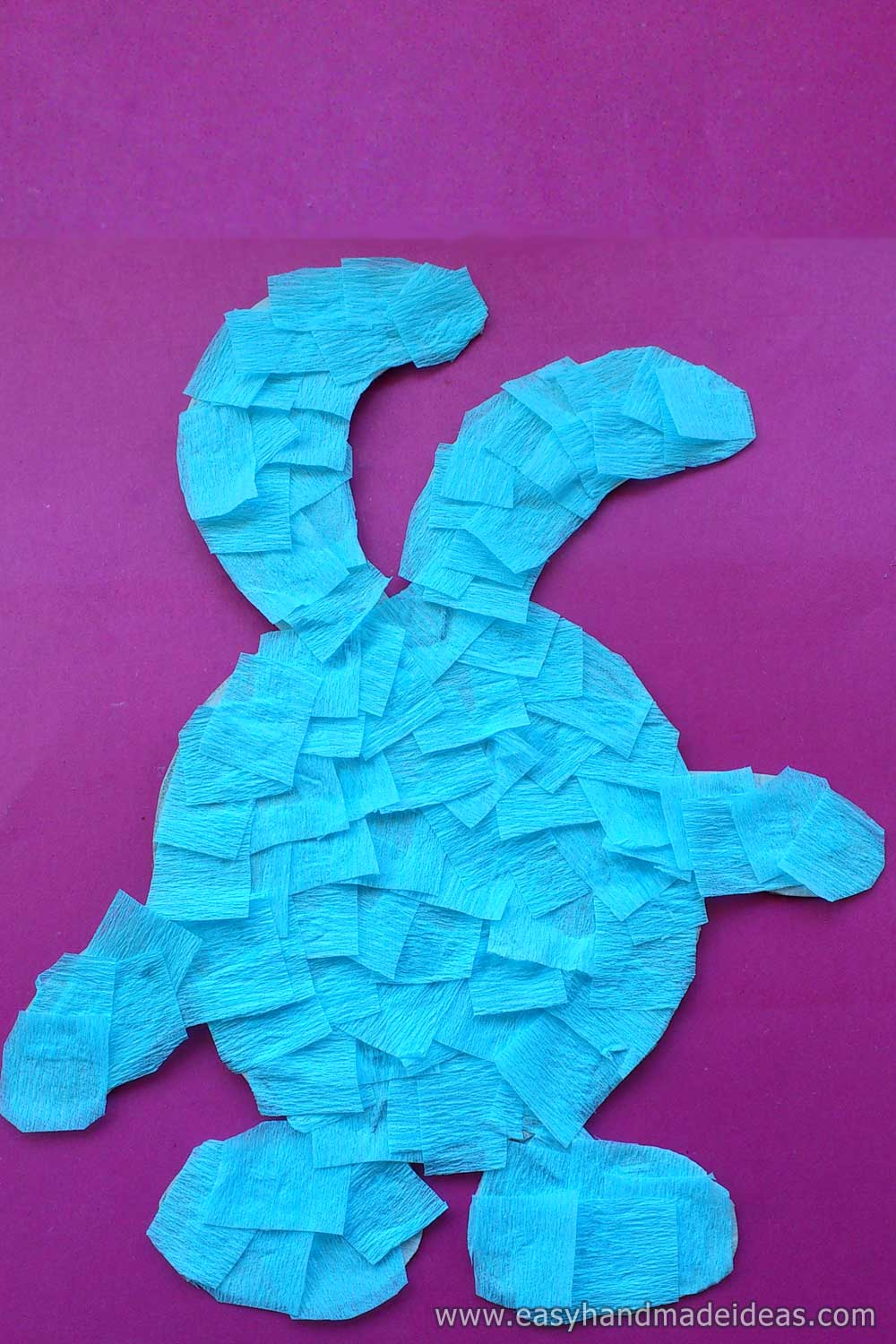 Glued Rabbit with Crepe Paper