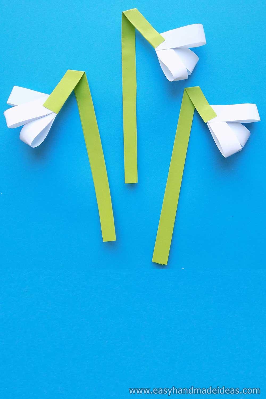 Three Paper Snowdrops
