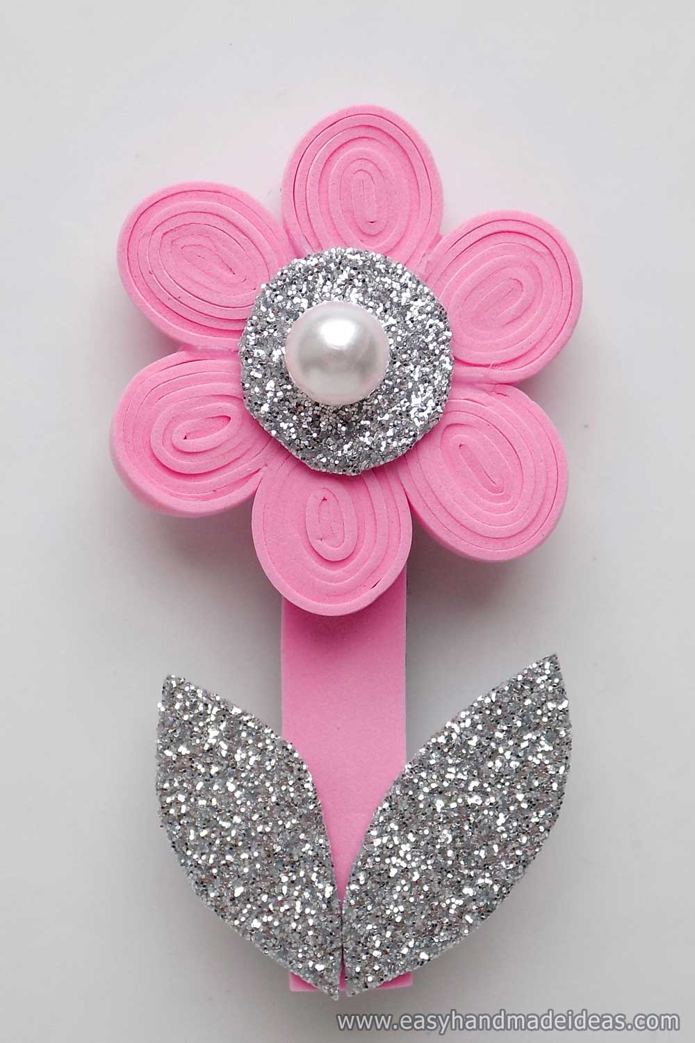 Hair Clip with a Flower from Foamiran