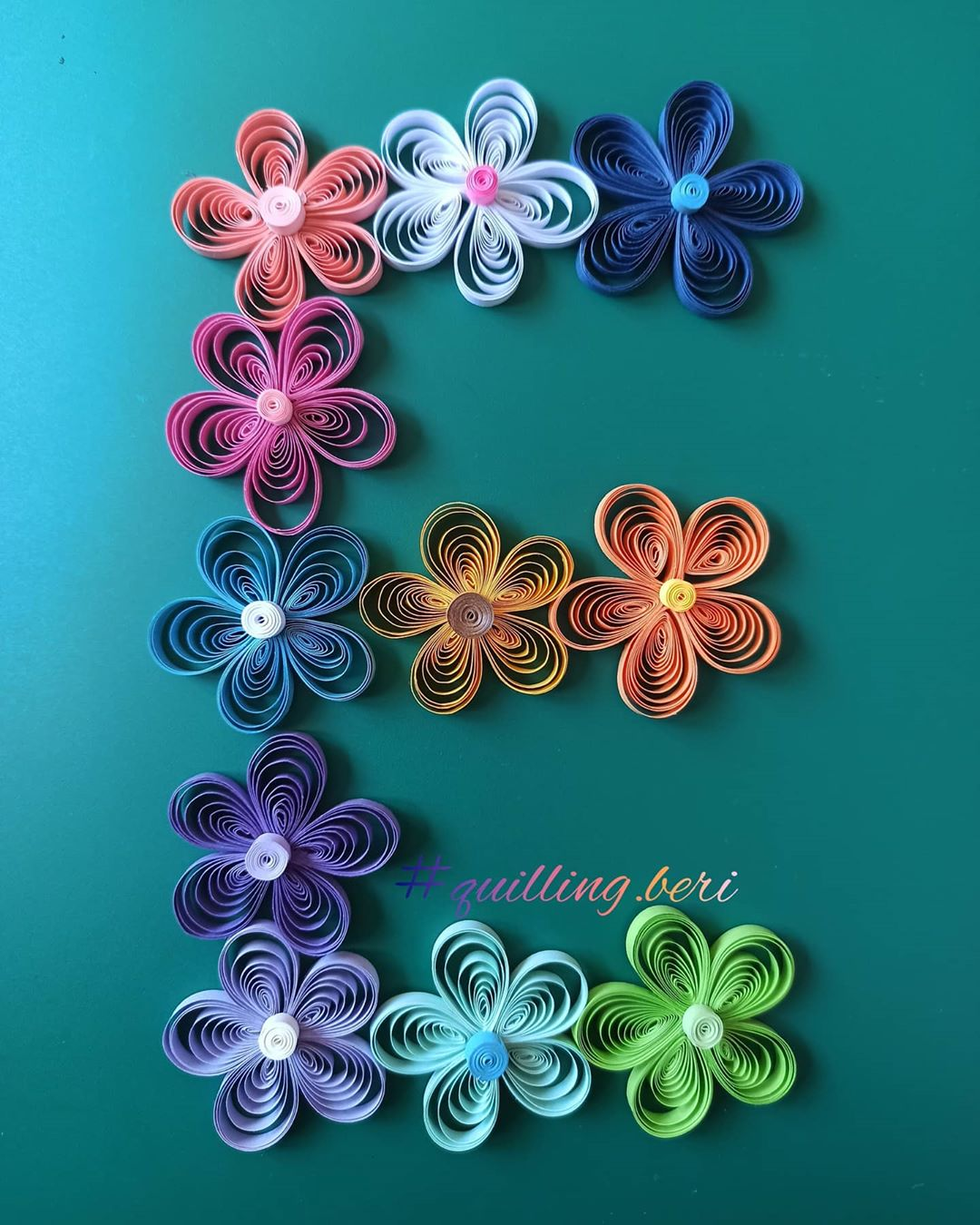 Quilling Letter E from Flowers