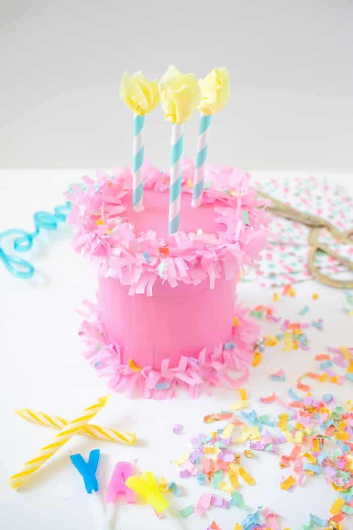 DIY Paper Birthday Cake Gift Box