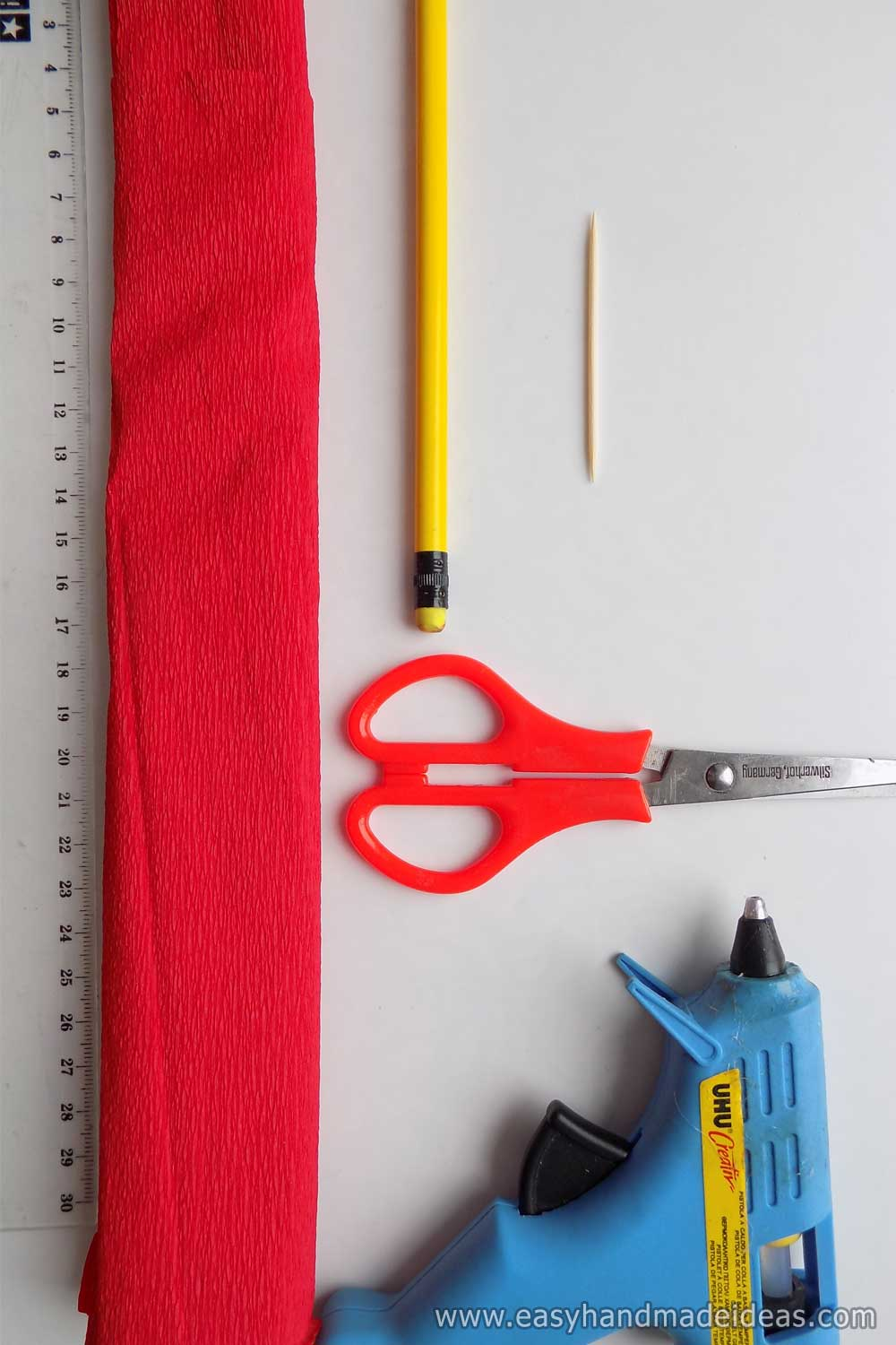 Materials and Tools for Crepe Paper Rose