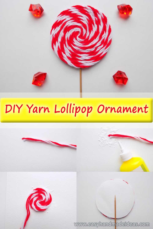 DIY Yarn Lollipop Ornament